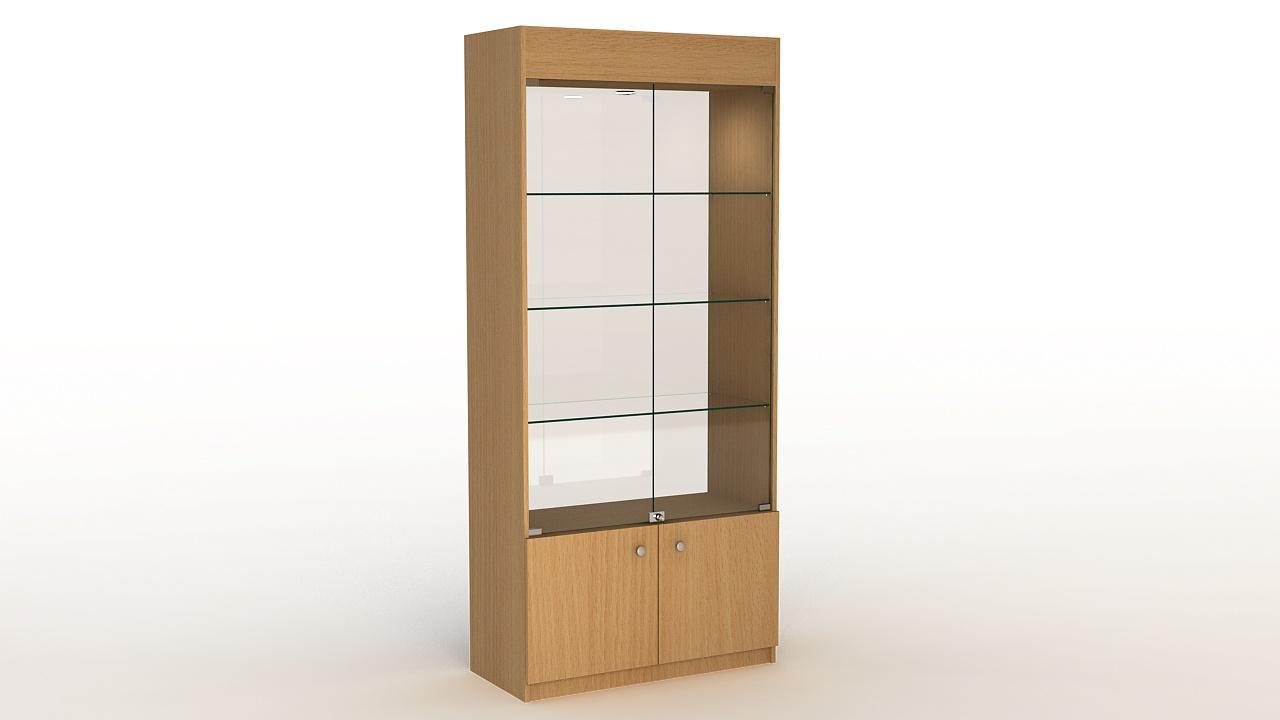 Торговая витрина из ДСП с накопителем и стеклянной задней стенкой.