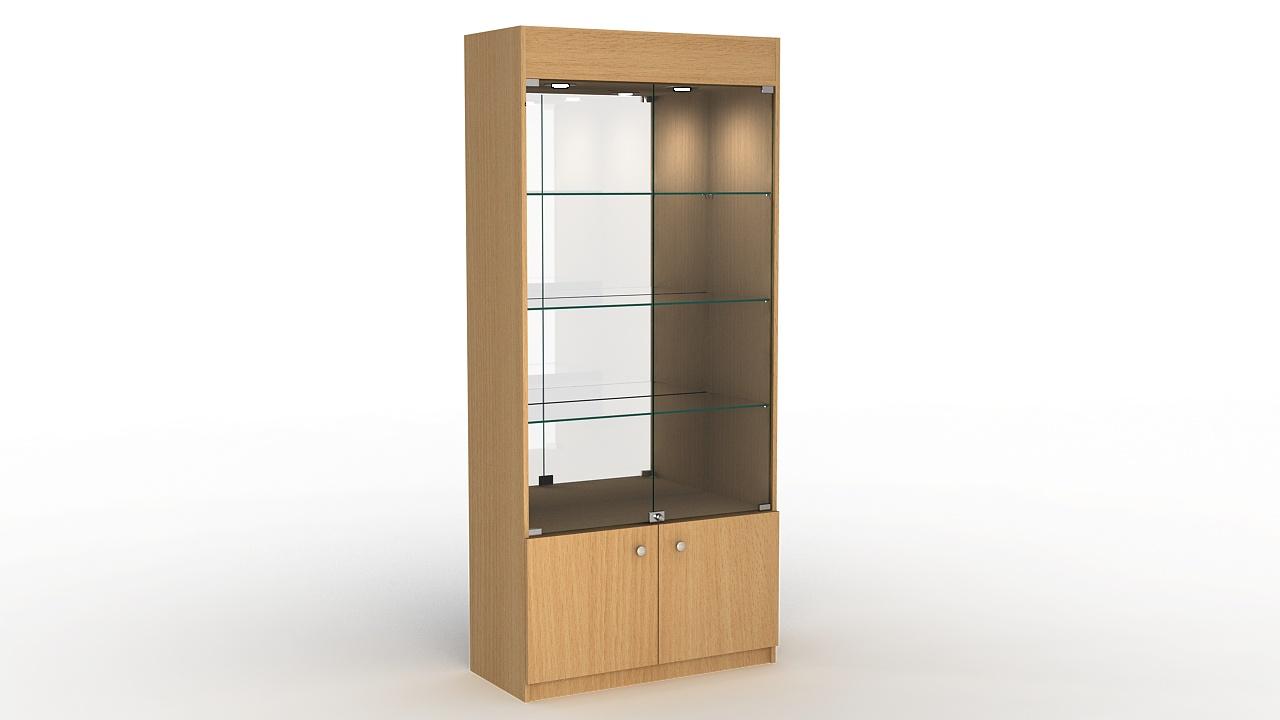 Торговая витрина из ДСП с накопителем и зеркальной задней стенкой.